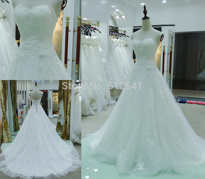 Charming Lace vestido de noiva Sweetheart A Line Wedding Dress 2019 Appliques Sequin Flowers Lace Up Sweep Train Bridal Gowns