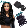 7A Peruvian Body Wave Virgin Hair 3 Bundles With 4x4 Lace Closure Soft Peruvian Virgin Hair With Closure Human Hair Weaves