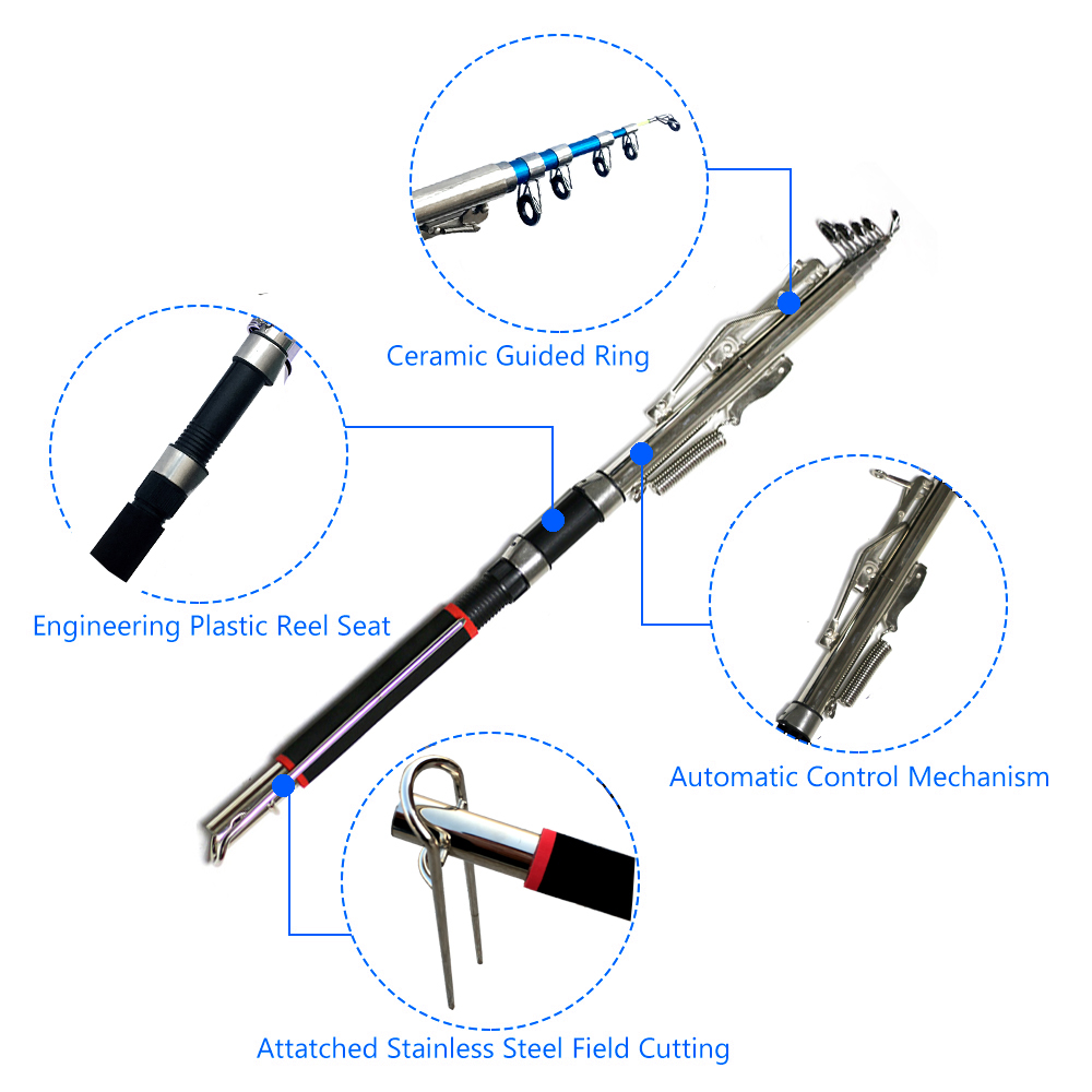 Automatic Fishing Rod Without Reel 1.8m 2.1m 2.4m 2.7m Sea River Lake Stainless Steel 5