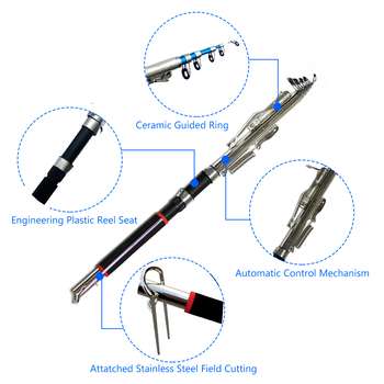 Automatic Fishing Rod Without Reel 1.8m 2.1m 2.4m 2.7m Sea River Lake Stainless Steel 10