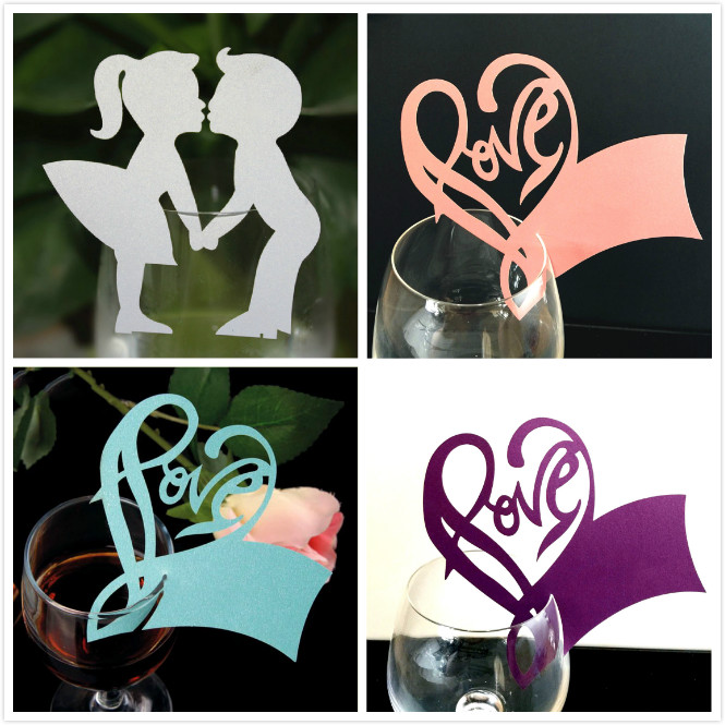 50 Pcs Angle Heart Wine Glass Paper Cup Cards Name Place New Year Party Supplies Christmas Wedding Decoration Table Card
