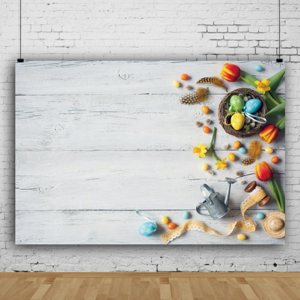 Laeacco Flowers Easter Nest Eggs Ribbon Planks Wall Baby Shower Scene Photographic Backgrounds Photography Photo Backdrop Studio in Background from Consumer Electronics