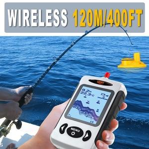 Image 3 - LUCKY Wireless Fish Finders Alarm echosonda do łowienia w rosyjskim przenośnym sygnalizator głębokości 45m z wyświetlaczem LCD FFW718