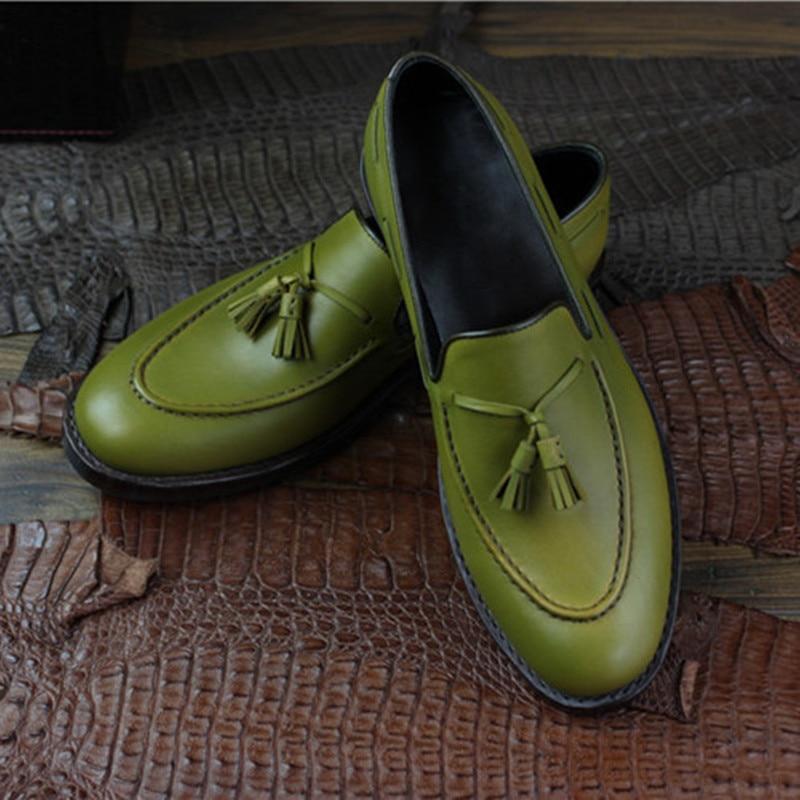 Homens Cor On Bezerro Mocassins Slip Sapatos De Oxford Borlas Sapato Goodyear Genuíno Medida Maloneda Handmade Sob Marca Couro Verde Para Exército YqgBZPt