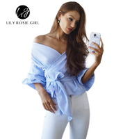 Chic Off Shoulder Ruffled Women Blouses Tops Elegant Bow Waistband Ruched Sleeves White Shirts Feminino Autumn