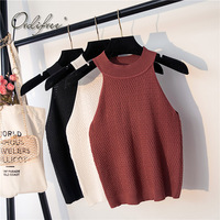 Ordifree 2018 Summer Off Shoulder Top Halter Tank Top Camisole Sleeveless Short Tshirt Knitted T Shirt