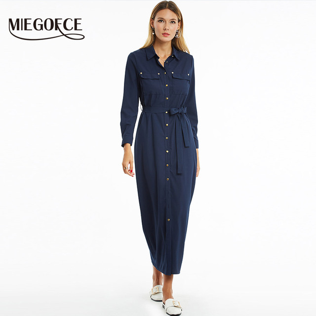 New Collection By Miegofce 2018 Spring Summer Dress Dark Blue Color Long Women On Dresses