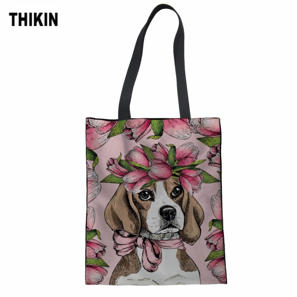 THIKIN Handbag Beagles Pet Dog Print Tote Bag Fashion Canvas Bag For Women's Shopping Bag Supermarket Custom Sacola Feminina