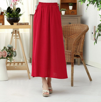 Solid Red Chinese Women S Traditional Cotton Linen Skirt All Match Long Pleated Skirt Casual Loose