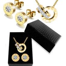 Роскошное Золотое римское ожерелье с цифрами, серьги, набор для женщин, Свадебная вечеринка, серебро 316L, нержавеющая сталь, ювелирный набор, подарочная коробка