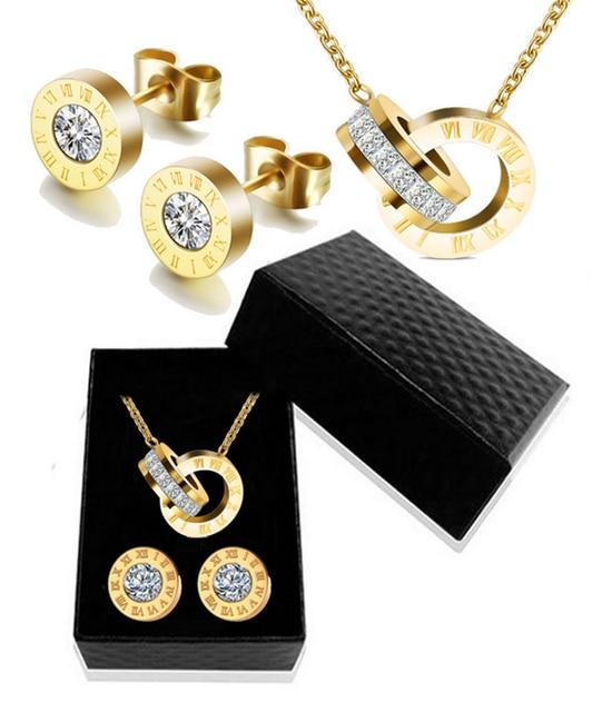 יוקרה זהב רומי ספרה שרשרת עגיל סט לנשים מסיבת חתונת כסף 316L נירוסטה תכשיטי סט אריזת מתנה