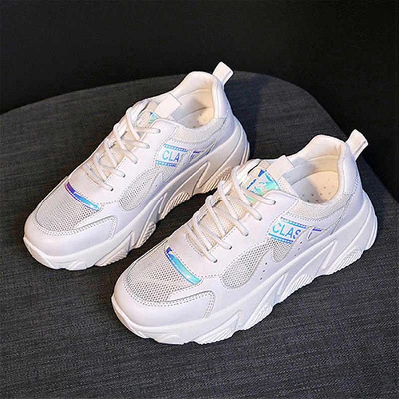 2019 ใหม่ผู้หญิง Chunky รองเท้าผ้าใบ Tenis Feminino Breathable ตาข่ายรองเท้าผู้หญิงรองเท้าสีขาวรองเท้าผ้าใบผู้หญิงรองเท้าพ่อ Krasovki
