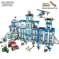 Qunlong 0200 Toys Police Series Building Blocks DIY Police Station Model Sets Bricks Block Compatible Legoed Minecrafted City