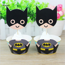24pc Batman Baby Favor Birthday Party Supplies CupcakeShower Cupcake Toppers Picks Decoration