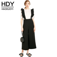 HDY Haoduoyi Casual Women Jumpsuit 2018 Summer Fashion Sweet Wide Leg Romper Solid Black Sleeveless Ruffle