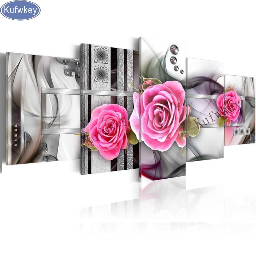 kufwkey diamond embroidery pink rose,5d diamond painting 5pcs full diamond mosaic pictures of rhinestones cross-stitch kits gift