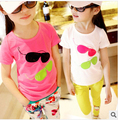Sale 3-10Y New Arrival 2016 Children Clothing Baby Girls T-Shirt Girl Cotton Cartoon Stereo Glasses Shirts Kids Summer T Shirts