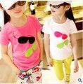 Venta a $ number AÑOS de la Nueva Llegada 2016 Niños Niñas Ropa de Bebé Camiseta de La Muchacha Gafas Estéreo de Dibujos Animados de Algodón Camisas de Los Niños Camisetas de Verano