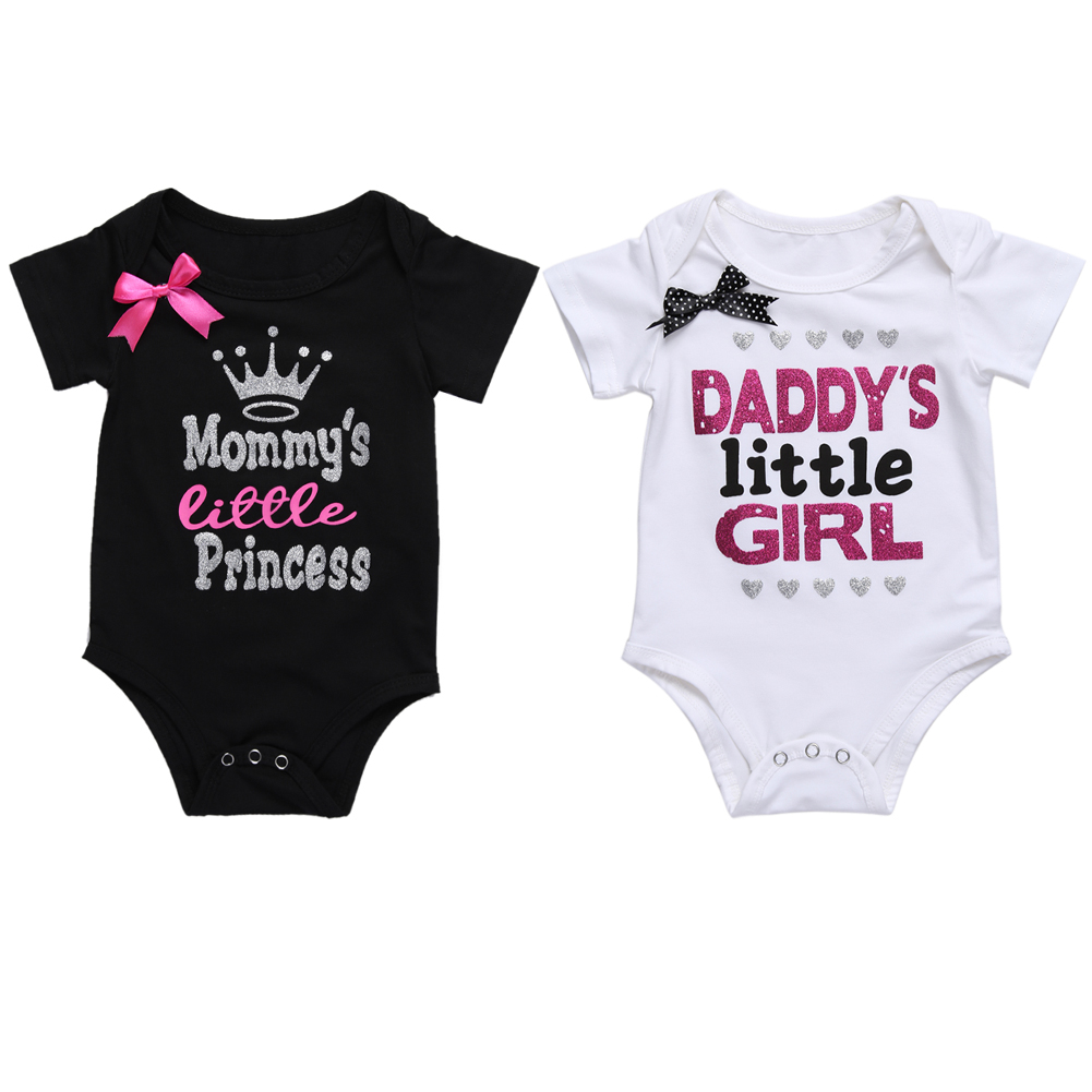 Girls Body Baby Kläder Baby Summer Bomull Kortärmad Vit & Svart Letter Print Cute Romper Barn Kläder Toppar