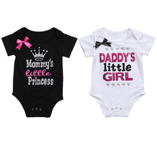 Newborn Baby Girls Clothing Summer Daddy's Little Girl Letter Print Romper Jumpsuit Short Sleeve Outfit Black White