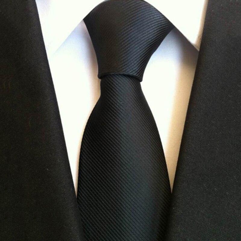 8CM Black Ties For Men Solid Color Striped Business Silk Neckties Fashion Wedding Party Gravatas Women Wide Jacquard Neck Tie