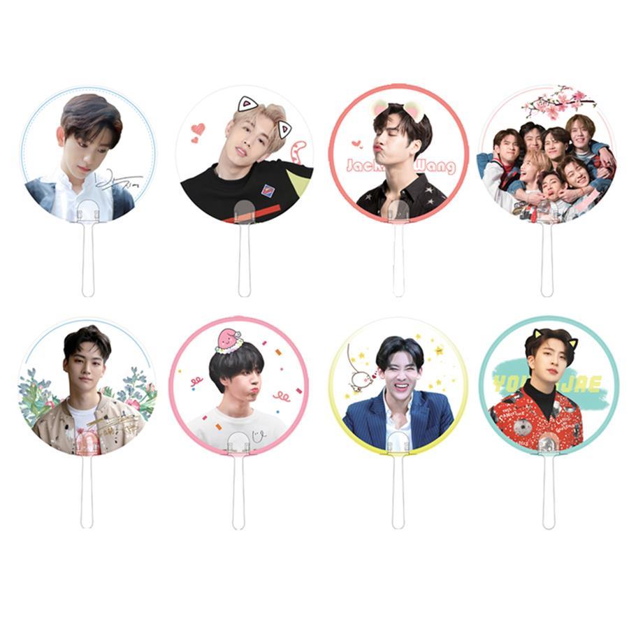 Kpop GOT7 Eyes On You Mini Portable Transparent PVC Hand Holder Fan Summer Mark Jackson Yugyeom Gift