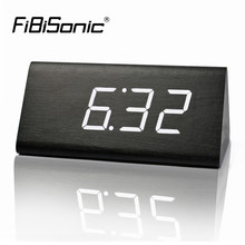 FiBiSonic Wooden LED Alarm Clock with Temperature Sounds Control Calendar LED Display Electronic Desktop Digital Table Clocks(China)