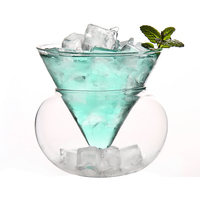 SIBAOLU 1 Pc Heat Resistant Glass Materal Cocktail & Fruit Juice Cup 100% Handmade Exquisite Cup Bar Party Wine Cup