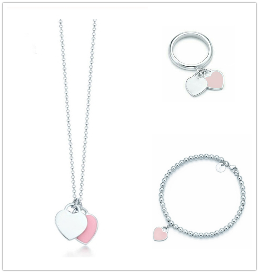 SHINETUNG 1 1 S925 Sterling Silver Original TIFF High Quality Pink Heart Shaped Pendant Bracelet Women Elegant fashion Jewelry in Charm Bracelets from Jewelry Accessories