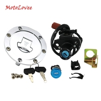 Motolovee Partol Motorcycle Fuel Gas Tank Cap Cover Seat Lock Key Set Ignition Switch for Honda CBR600RR 1000RR