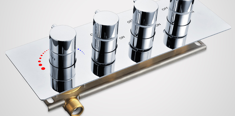 hm Faucets Accessories Contemporary Brass Chrome Thermostatic Shower Valve 3 Way Bathtub faucet Diverter Thermostat Mixer (11)