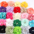 50pcs/lot 2 30colors Hair Clips Chiffon Flower+Rhinestones And Pearls For Girls Hair Accessories Fabric Flowers For Headbands