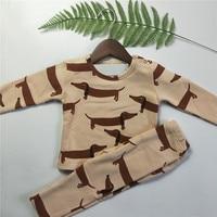 BOBOZONE Dog Print Velvet Long Sleeve T Shirt And Pants Sets For Kids 1 6 Years