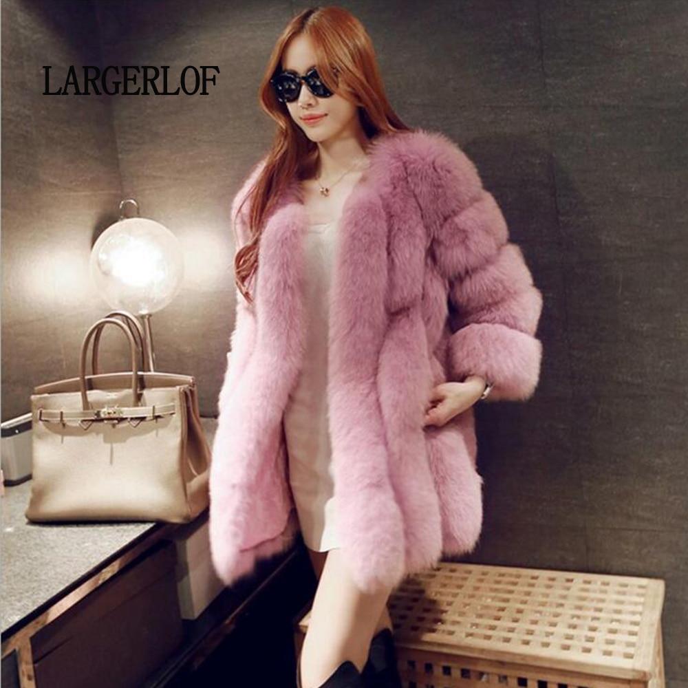 Faux 2019 Fourrure D'hiver Femmes Renard Veste Largerlof red À Manches Mode Rouge black Fc57003 Pink Longues white De Manteau wAzgEIEq