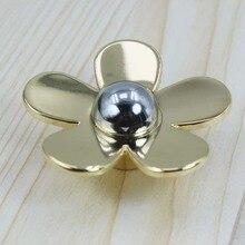 Fashion creative modeern flower knob shiny silver flaower drawer cabinet knob pull gold flower dresser cupboard furniture handle