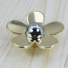 Fashion creative modeern flower knob shiny silver flaower drawer cabinet knob pull gold flower dresser cupboard furniture handle