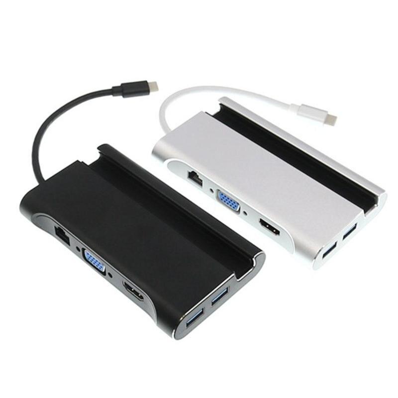 VODOOL 7 dans 1 Type-C à HDMI VGA RJ45 3xUSB3. 0 HUB Adaptateur Splitter Convertisseur Câble Fil avec Rainure Téléphone Titulaire Stand Support