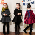 Платье для девочки, красное, серое, черное, для осени и зимы, детская одежда, платье для девочек с длинным рукавом, с оборками, толстое, вельвет, хлопок, одежда для девочек