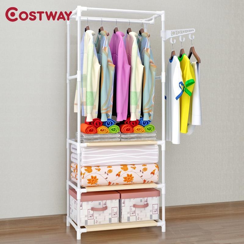 COSTWAY Clothes Hanger Coat Rack Floor Hanger Storage Wardrobe Clothing Drying Racks porte manteau kledingrek perchero de pieCoat Racks   - AliExpress