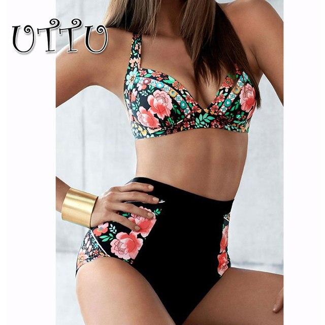 1c745abedd UTTU Plus Size Print Floral Strappy Bikini Set Women Modest Push Up Swimwear  Big XXL High Waist Swimsuit Patchwork Bathing Suit