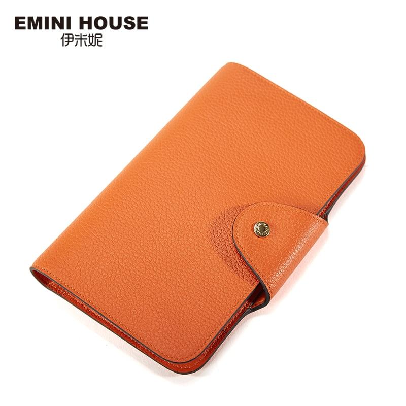 EMINI HOUSE Genuine Leather Long font b Wallet b font font b Women b font Multifunction