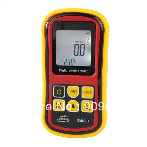 Thermomètre numérique de compteur de vitesse de vent d'anémomètre tenu dans la main électronique d'affichage à cristaux liquides 0 ~ 45 m/s GM8901 livraison gratuite