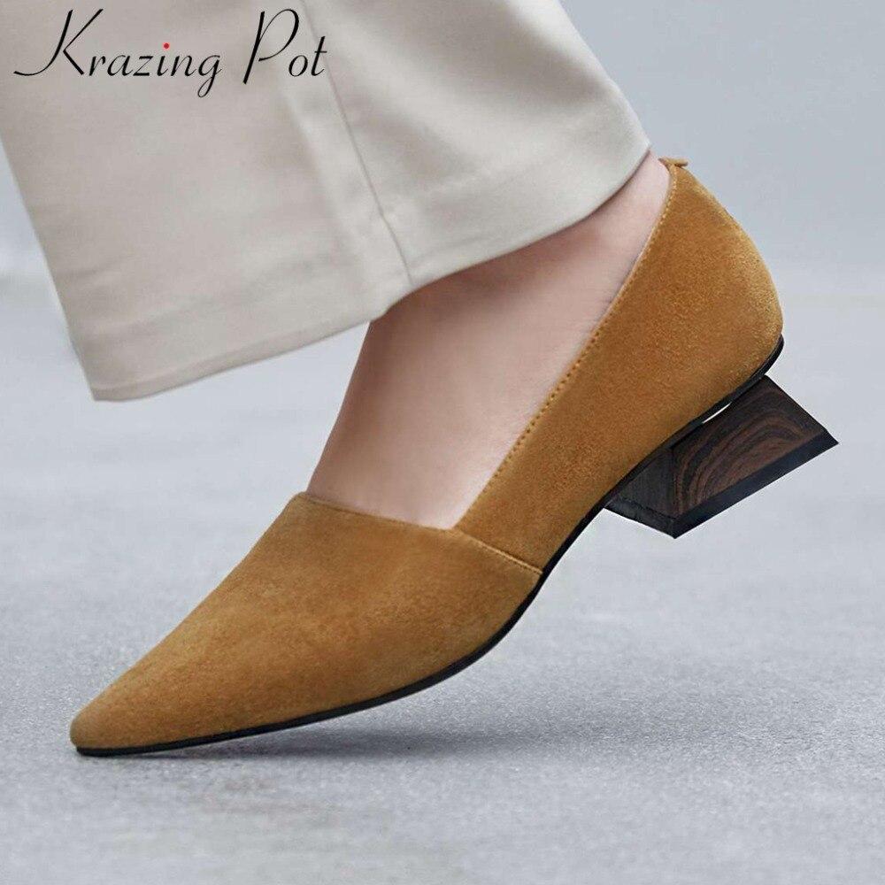 Krazing Pot European popular concise pumps genuine leather block low heels slip on solid vintage pointed