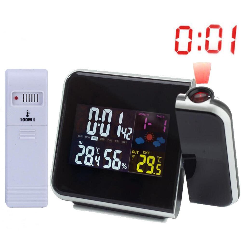 Digital Projection Alarm Clock Stazione Meteo con Termometro Temperatura Umidità Igrometro/Comodino Sveglia Orologio Proiettore
