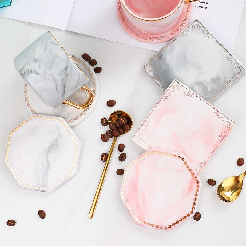 Cfen A S Golden Edge Marble Coasters Square Ceramic Coaster Tea