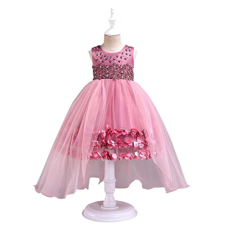 Flower Girls Dresses Princess Birthday Christmas Party Girl Clothes Satin Pearl Floral Wedding Dress Ball Gown For Baby Girls
