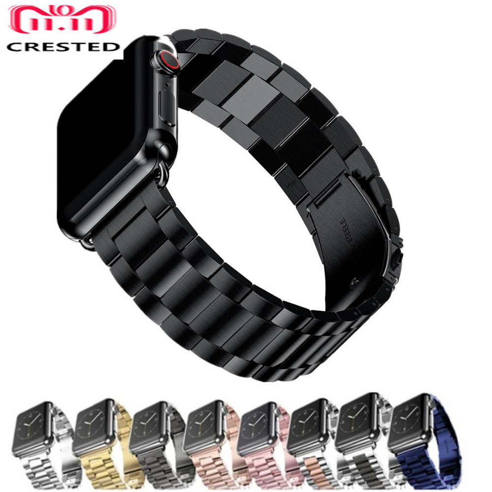 CRESTED Stainless Steel Strap For Apple Watch 4 band 44mm/40mm correa iwatch series 3 2 1 42mm/38mm link bracelet wristband belt цена