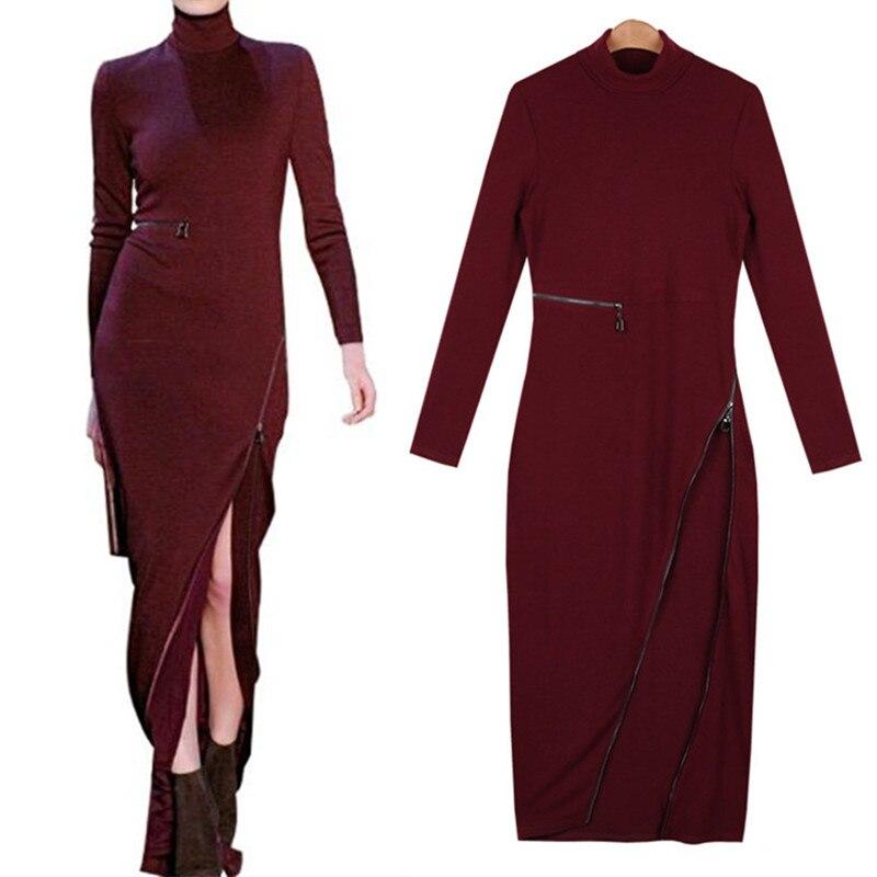 Neophil 2018 Winter Turtleneck Long Sleeve Knitted Sweater Women Pencil Bodycon Long Dresses Side Slit Zipper Maxi Vestido D1018