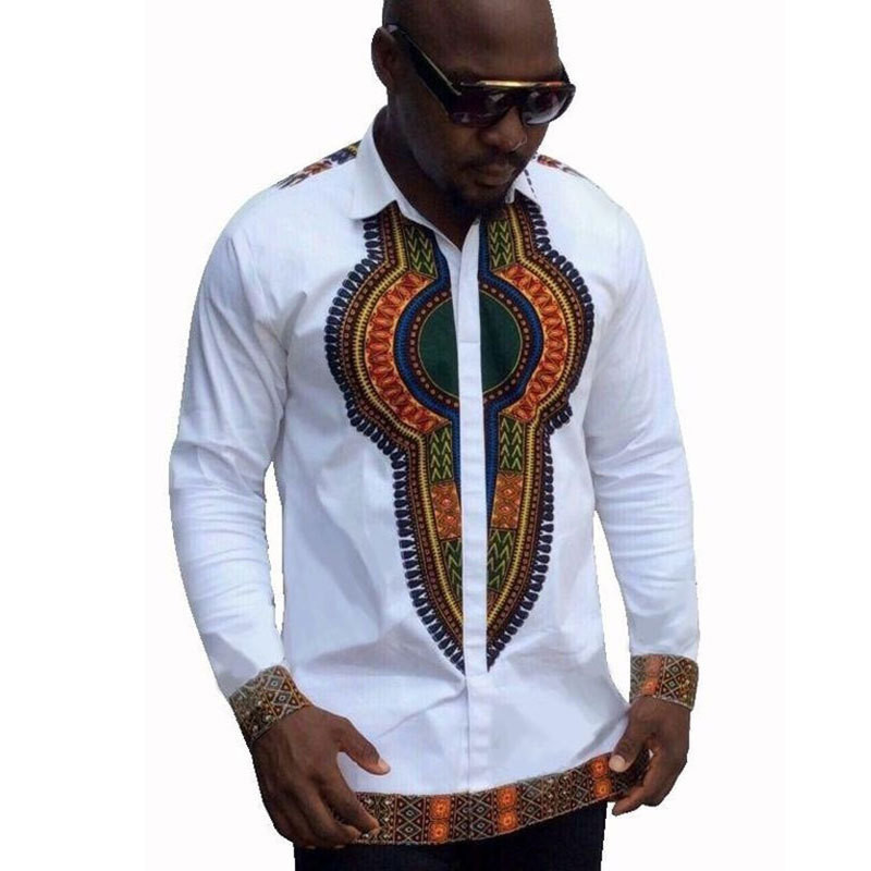 Men African Long Sleeve Dashiki Clothing Men Traditional Bazin Riche African Style Printed T-shirts Long Sleeve Dashiki Shirt