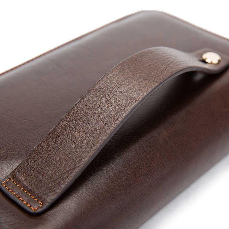 حافظة جلدية للرجال من WESTAL حقيبة يد للرجال مزودة بمقبض ومحفظة نقود